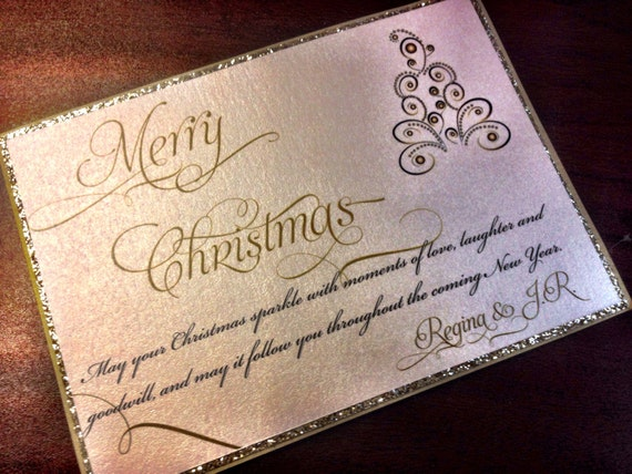 Glitter Christmas Card - Holiday Card