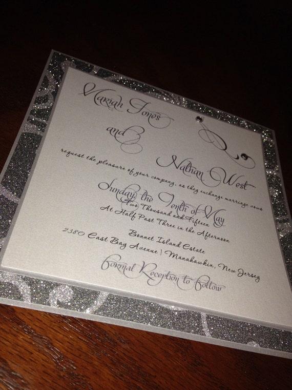 Silver Glitter Wedding Invitation - Glitter Swirl Invitation