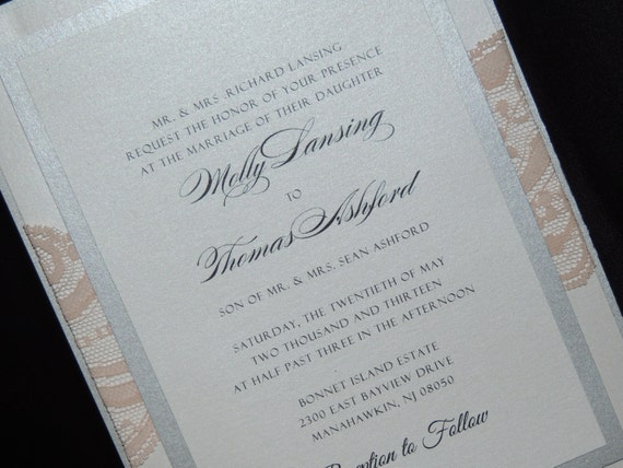 Lace Wedding Invitation - 4 layer