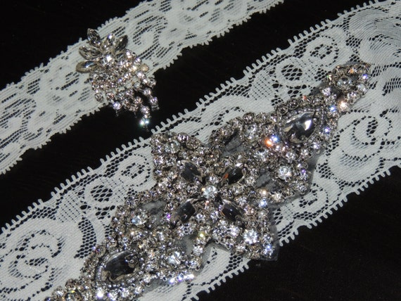 Lace & Crystal Wedding Garter and Toss Garter