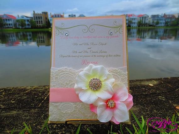 Flower, Brooch & Lace Pocket Wedding Invitation - Blush and Gold
