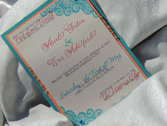 Little Mermaid Inspired Wedding Invitation - Ariel Inspired Wedding Invitation