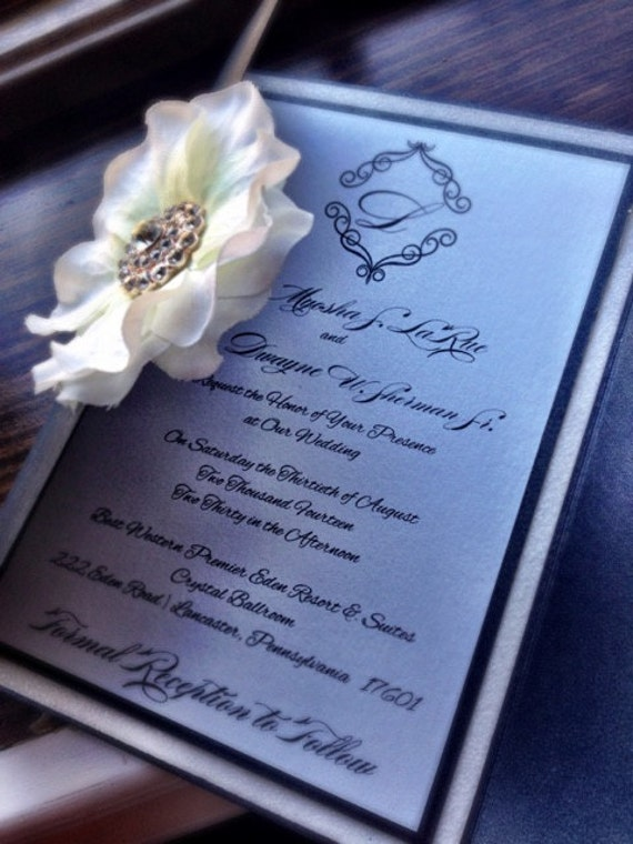 Soft Glitter and Brooch Wedding Invitation