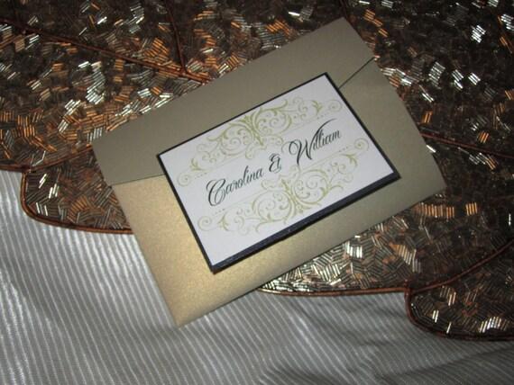 Scroll Design Pocketfold Wedding Invitation