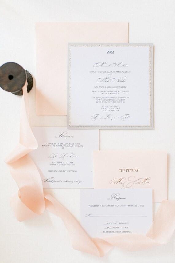 Glitter Wedding Invitation - Blush and Silver