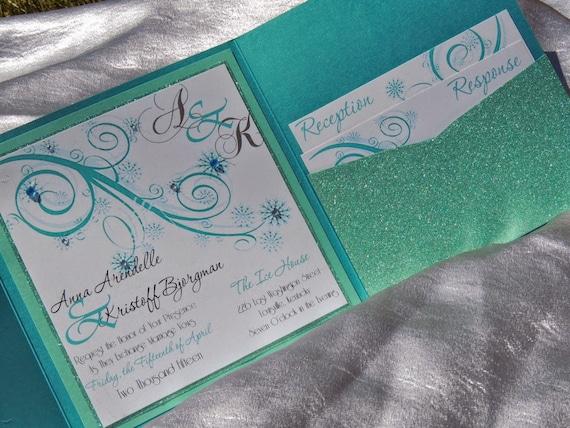 Frozen Inspired Wedding Invitation - Winter Wedding Invitation - Elsa Wedding Invitation