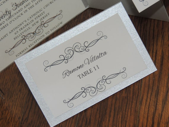 Silver Place Card - Unique Escort Card - Swirl Set