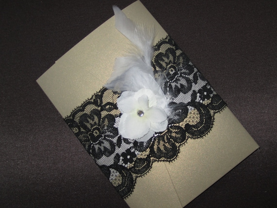 Black and Gold Lace Invitation