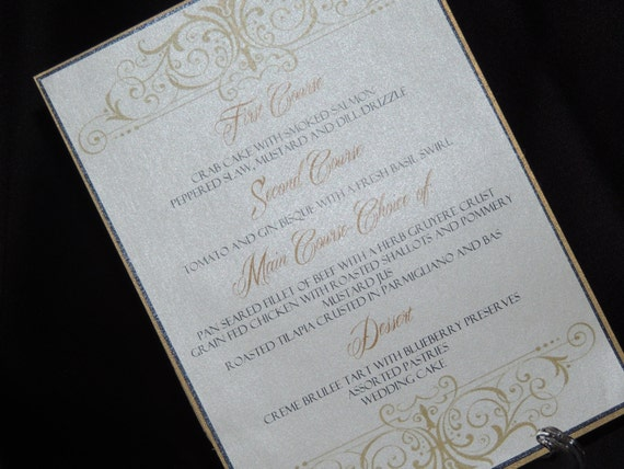 Scroll Design Table Menus - Wedding