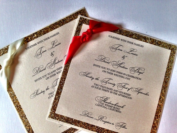 Glitter Wedding Invitation - Christmas Wedding Invitation / Holiday Wedding Invitation