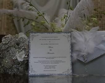 Feather Wedding Invitation - Rhinestone wedding invitation