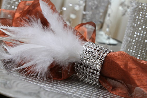 Reserved - 70 Napkin rings - Rhinestone, Crystal, Feather
