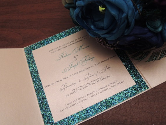 Reserved for Danielle - Glitter Wedding Invitation - Sparkle Wedding Invitation with Custom Glitter Color