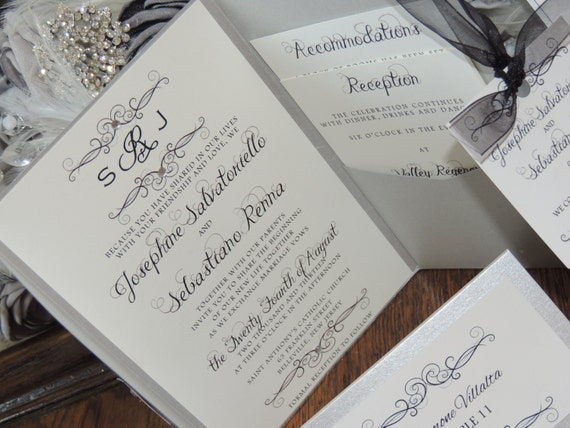 Silver Pocket Invitation - Monogram Wedding Invitation - Swirl Set