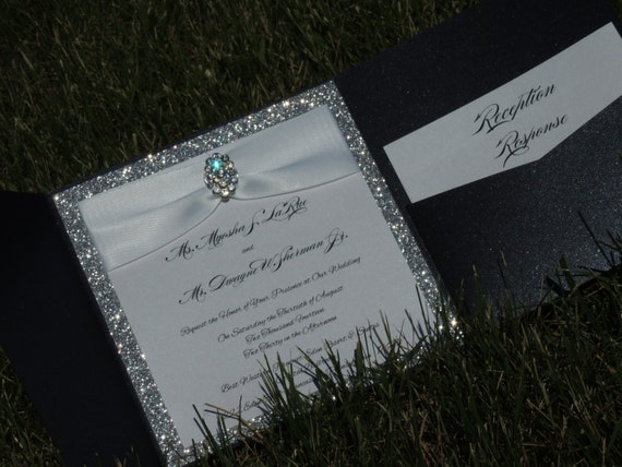 Reserved for Shannon - Black and Silver Folder Invitation