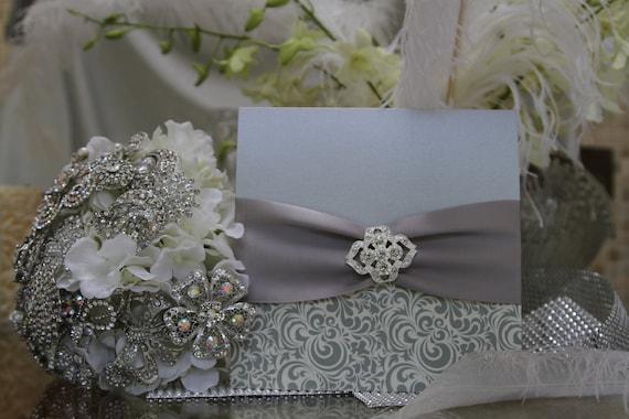 Rhinestone Wedding Invitations - Pocket