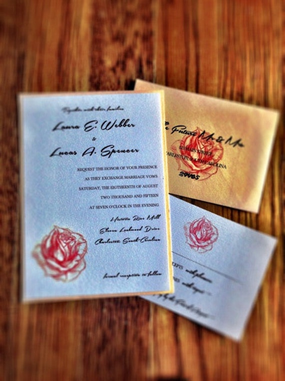 Rustic Rose / Country Chic Rose Wedding Invitation