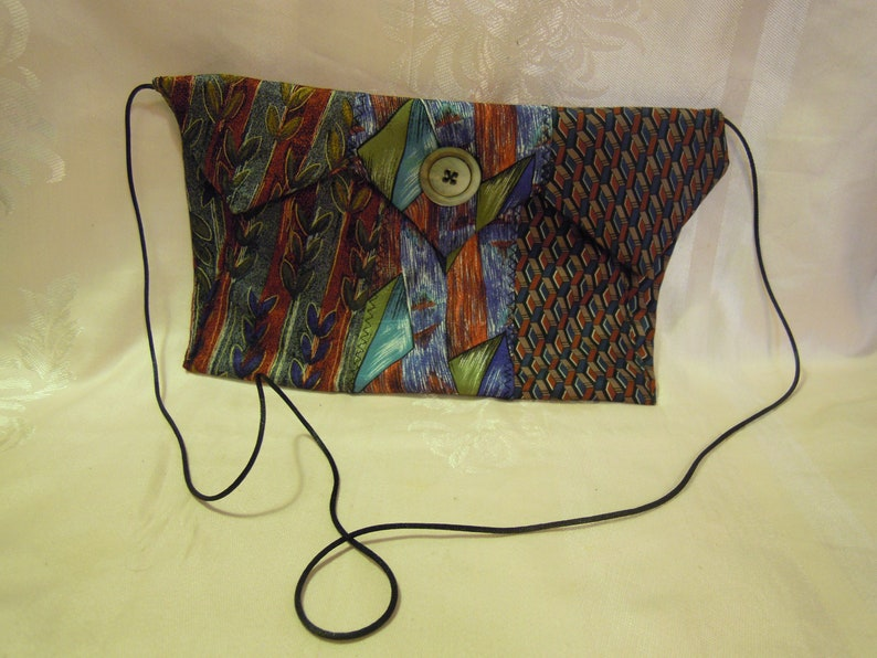 Evening Purse made out of Mens Neckties Reds and Blues MOP Closure nice gift bag also
