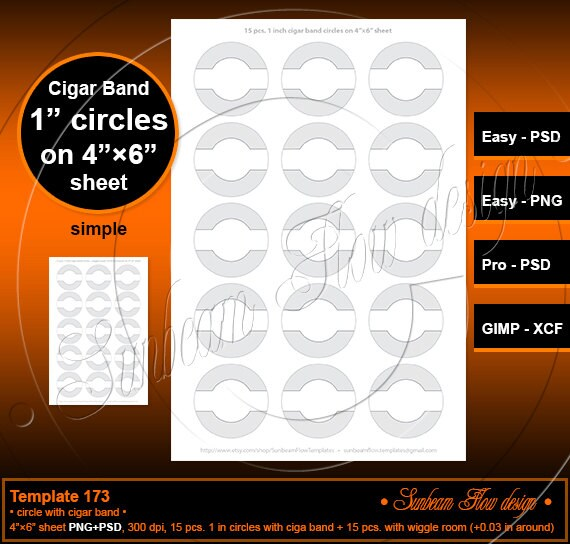 instant download 1 inch circles with cigar band template 173 etsy