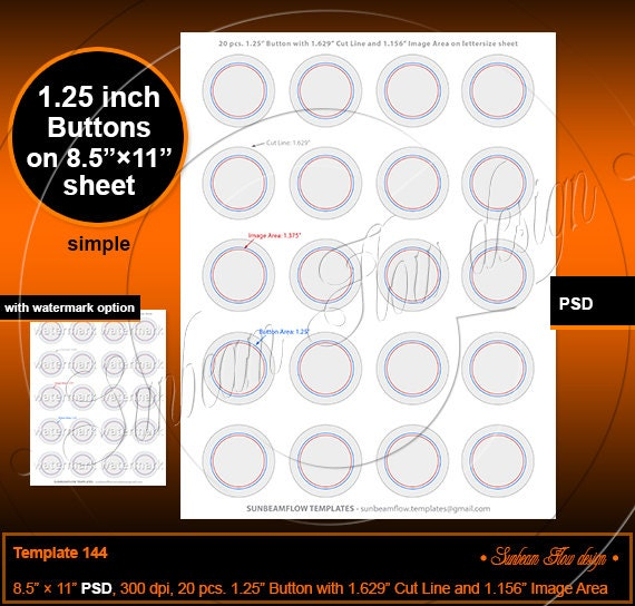 INSTANT DOWNLOAD For 125 Button 1629 Cut Line 1156