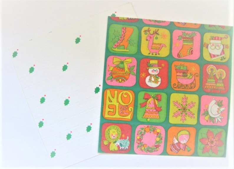 Two Sheets Christmas Icons Sleighs Noel Skates Dove Angel Holly Santa Mod Vintage Wrapping Paper Curated Set Christmas Gift Wrap