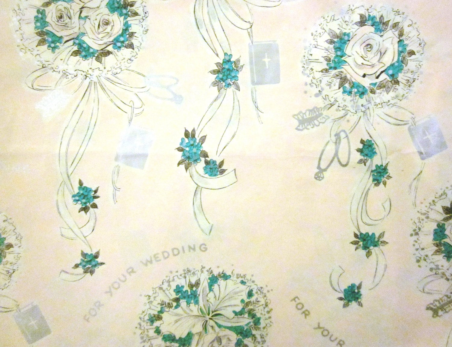 Wedding Gift Paper: Vintage Wrapping Paper Unused Christian Wedding Gift Wrap