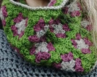 Crochet Cowl Pattern Granny Square Cowl PDF Crochet Pattern Instant Download Neckwarmer Scarf Limestone Pavement Baa Ram Ewe Yarns