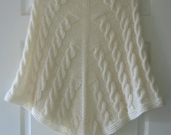 Knitted Shawl PDF Knitting Pattern, Cables, Aran Yarn, Written Pattern, Triangular Shaw Knitting Instructions