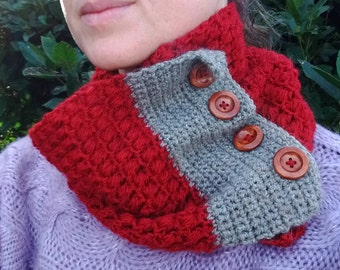 PDF Crochet Cowl Pattern Instant Download Red & Grey Puff Stitch Cowl Woollen Neck Warmer Crochet Tutorial Cowl with Buttons