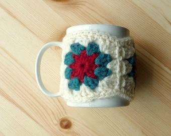 Mug Cosy PDF Crochet Pattern Granny Squares Flower Circle Centre Easy Quick Crochet