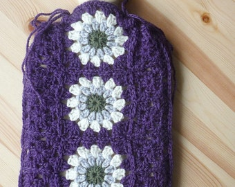 Crochet Hot Water Bottle Cover Crochet Pattern PDF Instant Download Granny Squares Flowers UK & US Terms Hottie Cover Bottle Cosy