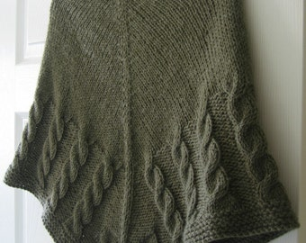 Shawl Knitting Pattern PDF, Triangular Shawl with Cables, Written Instructions, Easy Knit Design - Half Cable Shawl