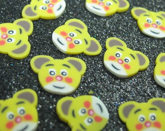 Polymer clay cane slices cute bear face 25 pcs for miniature foods decoden and nail art supplies