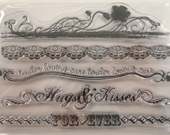 clear stamps set borders decorative hugs and kisses tender loving care stampology Forever 5pc Paper Craft Projects Cards and Scrapbook Pages