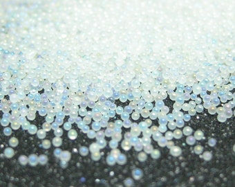 Microbeads translucent white opal iridescent micro marbles caviar no hole beads fake sprinkles glass miniature tiny balls kawaii 14 grams
