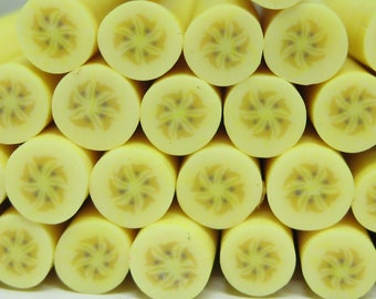 Polymer clay banana cane fruit 1pc for miniature foods desserts sundae topping decoden and nail art kawaii supplies
