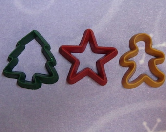 miniature holiday cookie cutters 3pcs for polymer clay - mini star tree gingerbread man playscale plus 1:6 scale resin charm Christmas