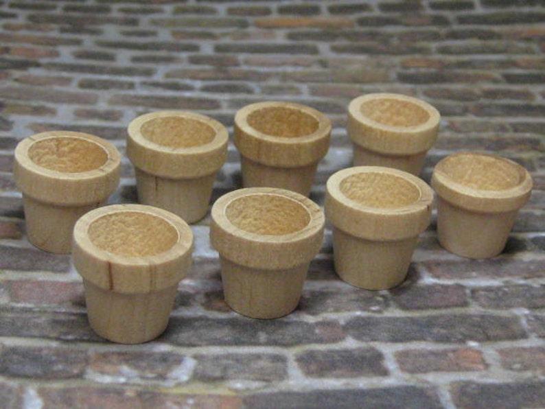 Dollhouse Miniature wood plant pots set of 8 pcs unfinished image 0