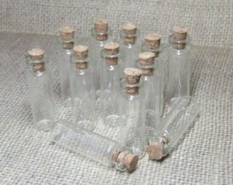 Miniature bottles & corks glass vials DIY mini wish jars 2.3ml empty 12pcs clear narrow skinny 40mm x 12mm small charm pendant potion kawaii