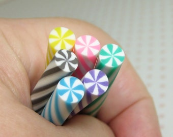 6 polymer clay candy swirl peppermint sticks fruity colors miniature DIY cabochons slime supplies