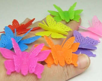 large Butterflies rainbow plastic 3D red orange yellow green blue purple pink butterfly party favors assorted gift accents fairy garden