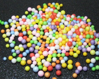 Fake candy balls sprinkles rainbow foam 2mm - 4mm tiny marbles 1 tablespoon / 15ml miniature sweet gumballs faux deco kawaii