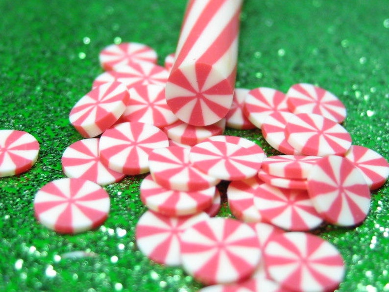 holiday polymer clay cane peppermint candy kawaii Christmas image 0