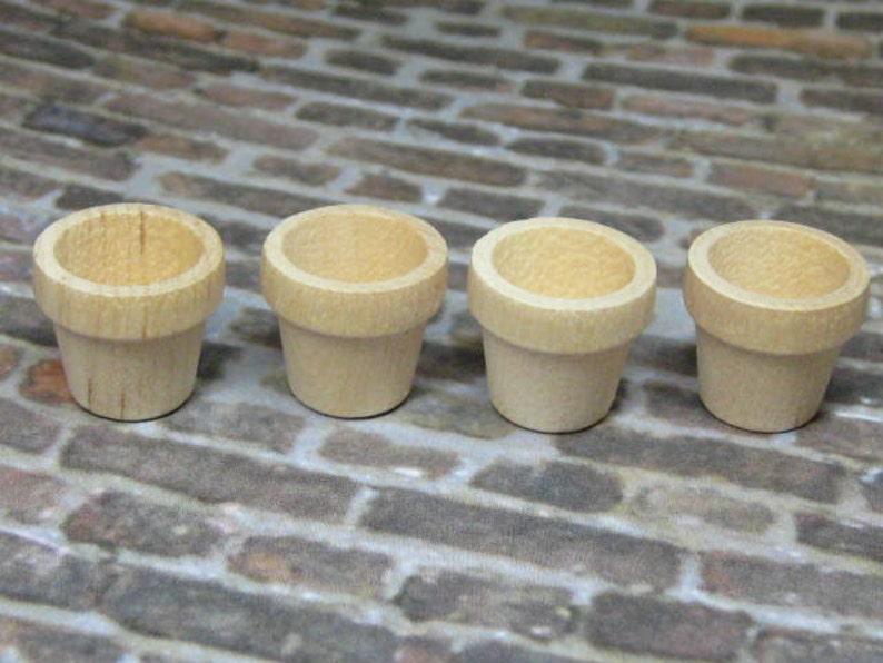 Dollhouse Miniature plant pots 4 pcs unfinished wood garden image 0