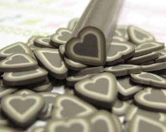 DIY uncut chocolate heart polymer clay cane 1pcs for miniature foods decoden and nail art supplies