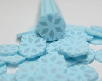 Snowflake cane polymer clay snow flake blue miniature dollhouse winter decorations kawaii embellishments Christmas nail art holiday DIY