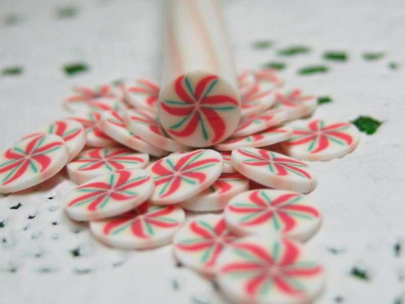 Holiday pinwheel polymer clay cane Christmas colors red green image 0