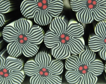 10mm flower fimo polymer clay cane 1pc red center with black stripes baked kawaii craft supplies miniatures decoden projects large big