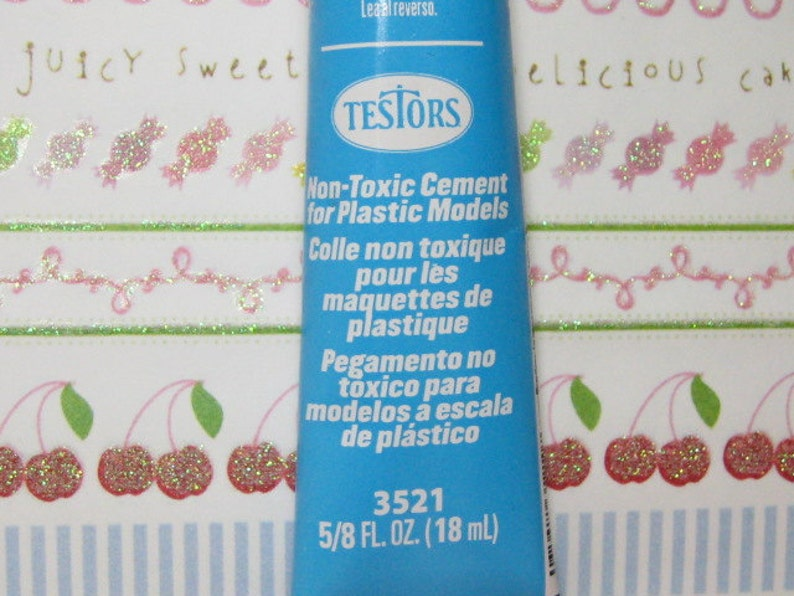 Testors non toxic cement Glue for plastics blue tube kawaii image 0