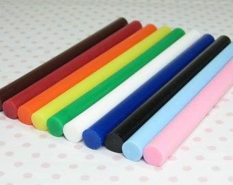 hot glue sticks 10pc kawaii color sampler opaque colors green blue orange black yellow red white pink brown